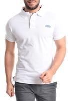 Superdry Herren Polo - Shirt in weiss Logo in blau