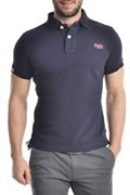 Superdry Herren Polo - Shirt in dblau Logo in pink